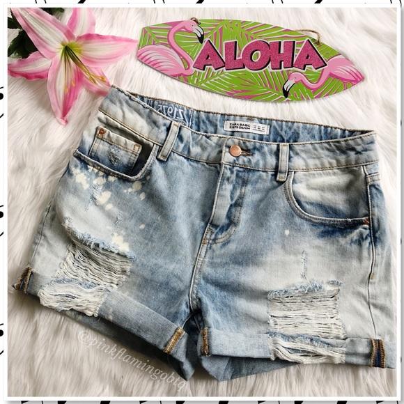 a437604e00 Zara Shorts | Basic Denim High Rise Distressed Cutoff | Poshmark